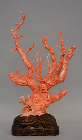 A Chinese Red Coral Sculpture Carved With Five Savants,