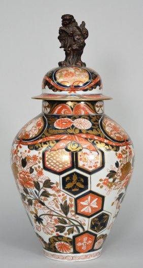 A Japanese Brocade Imari Vase With Cover, 18thc, H 62