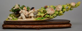 A Chinese Ivory Scuplture, Polychrome Decorated,