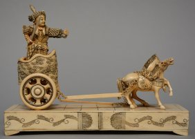 A Chinese Ivory Sculpture Figuring A Warrior On A