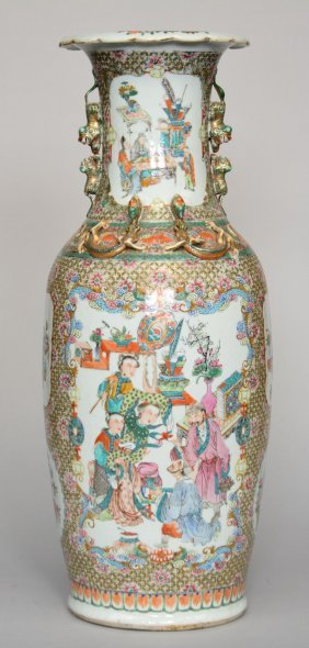 A Chinese Polychrome Decorated Vase, Painted With