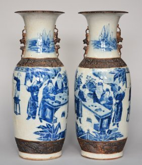 A Pair Of Chinese Stoneware Vases, Blue And White