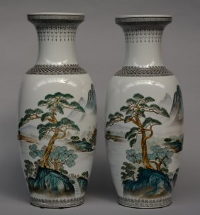 A Pair Of Chinese Vases, Polychrome Decorated With A