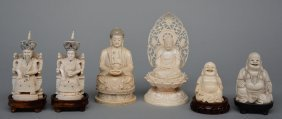 Two Chinese Ivory Buddhas And A Ditto Budai, On A