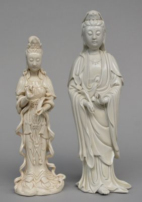 Two Guanyin Figures In 'blanc De Chine', Marked, H 35 -