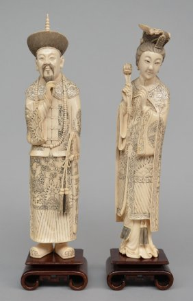 A Pair Of Chinese Ivory Dignitaries, Scrimshaw
