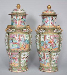 An Exceptional Pair Of Chinese Canton Vases, 19thc, H