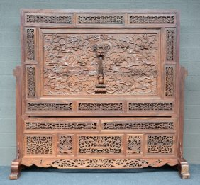 An Impressive Chinese Wooden Chamber Screen With Richly