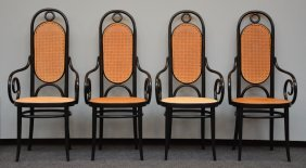 A Set Of Four Black Lacquered Thonet Armchairs, H 116 -