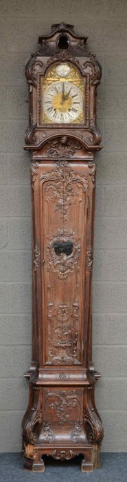 A Richly Carved 18thc Oak Longcase Clock, The Dial