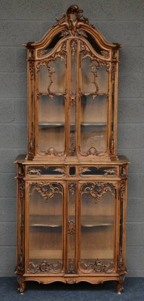 An Elegant Lxv-style Walnut Display Cabinet With Rich