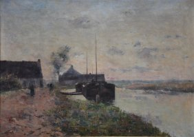 Franck L., A Landscape With Boats, Oil On Canvas, In A