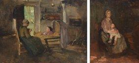 (atelier Neuhuys A.), Two Genre Scenes, Oil On