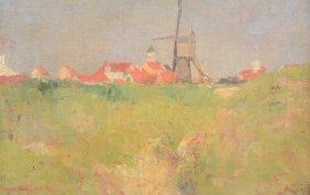 Van Strydonck G., View Of A Village With Windmills, Oil