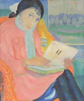 Stryvaert M., A Girl With A Book, Oil On Canvas, 55 X