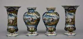 Two Pairs Of 18thc Polychrome Decorated Dutch Delftware