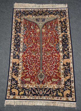 An Oriental Carpet Depicting The Tree Of Life, Wool And