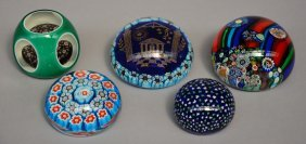 Five Murano Crystal Paperweights, Four With