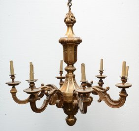 An Exceptional Lxiv-style Gilt Wooden Chandelier, H 167
