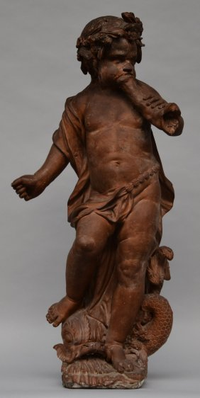 An Exceptional Baroque Terracotta Triton Figure, Early