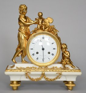 A Neoclassical White Marble Mantel Clock With Beautiful