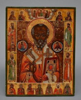 An Eastern European Icon Depicting St. Nicolas, 19thc,