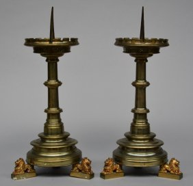 A Pair Of Gothic Revival-style Brass Candlesticks, H