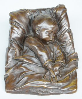 Robert E., 'le Sommeil', Bronze, H 14 - W 22 Cm