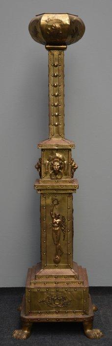 A Belle Époque Brass Flower Stand, Ca. 1900. H 162,5 Cm