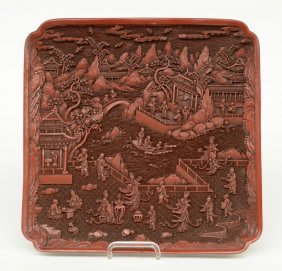 A Chinese Quadrangular Red Lacquer Dish, Marked