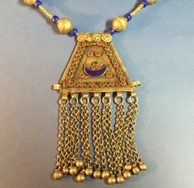 Large Vintage Turkish Silver Lapis Necklace