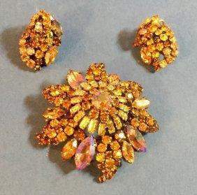 Vintage Austrian Brooch And Earrings