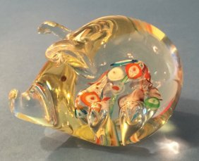 Glass Pig Paperweight