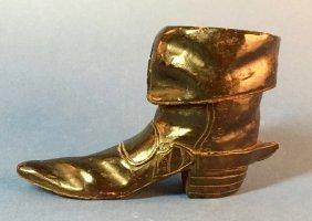 Vintage Black Forest Folk Art Carved Wooden Boot
