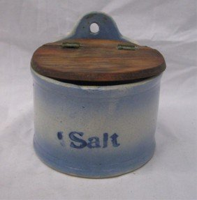 Antique Stoneware Salt Box