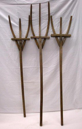 Primitive Carved Wood Pitchforks