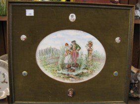 Framed Porcelain Courting Scene Plaque & Pins