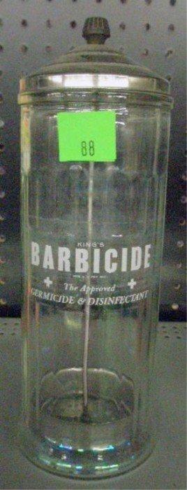 Vintage Barbicide Glass Comb Jar