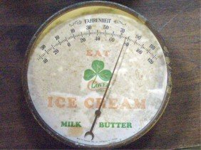 Vintage Clover Brand Ice Cream Thermometer