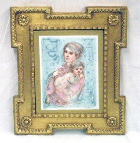 Edna Hibel Painted Porcelain Plaque