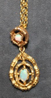 18k YG Chain And 14k Opal Drop