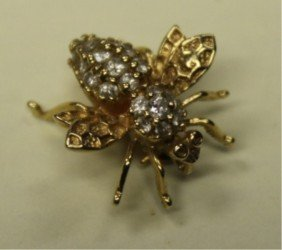 14k YG & Diamond Insect Pin