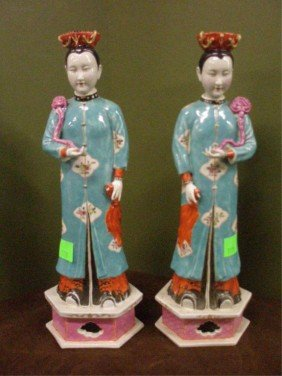 Pr Chinese Porcelain Court Lady Figures