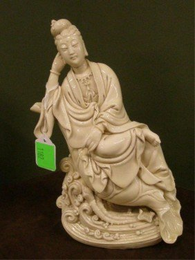 Chinese Ivory Color Porcelain Seated Figure