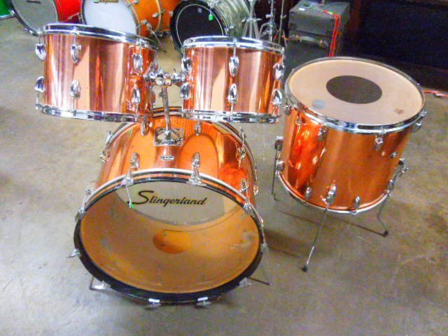 Vintage Slingerland Copper Wrapped 5 Pc Drum Set Lot 291