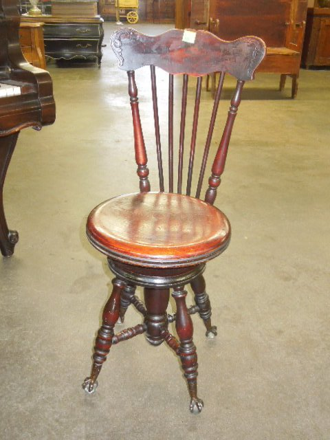Piano Stool With Back Rest Lot 626