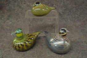 3 Iitiala Finland Art Glass Ducks