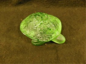 Lalique Green Crystal Turtle