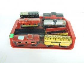 8 Vintage Marx Tm Litho Train Cars
