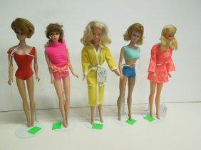 5 Vintage Barbie And Midge Dolls